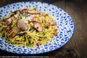 Mushroom & Bacon Spaghetti with Chestnut Pesto